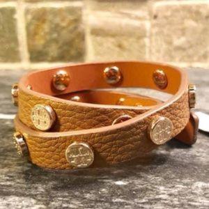 Tory Burch Leather Wrap Brown Bracelet-New w/tags